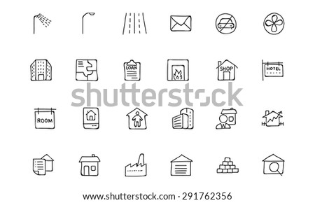 Real Estate Hand Drawn Doodle Icons - stock vector