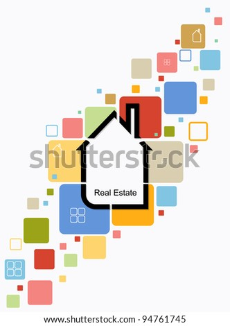 real estate house background vector - stock vector