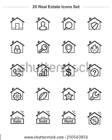Real Estate & House Icons set, Line icon - Vector illustration