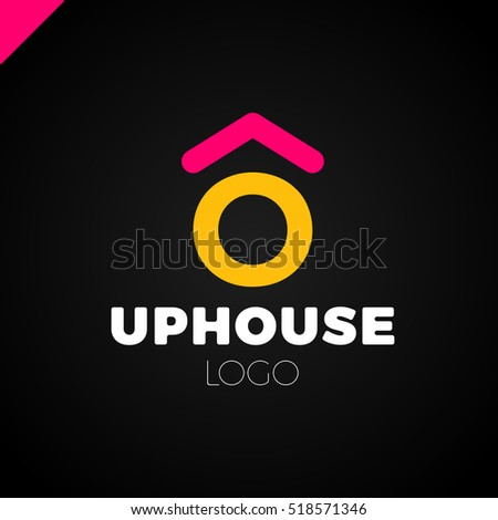 Simple minimalistic logotype three house circle stock for Minimalist house logo