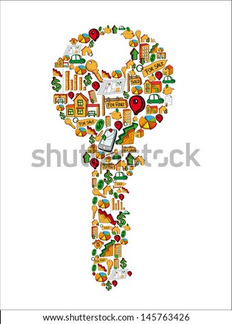 Real estate icon key set in  isolated silhouette over white. Vector file layered for easy manipulation and custom coloring. - stock vector