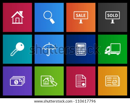 Real estate icon series in Metro style - stock vector