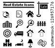 real estate icon set - stock photo