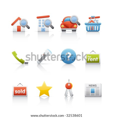 Real Estate Icon Set for multiple applications. In Adobe Illustrator EPS 8. - stock vector