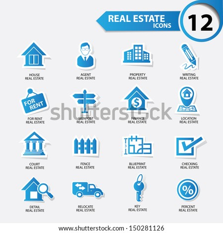 Real estate icons,Blue version,vector - stock vector