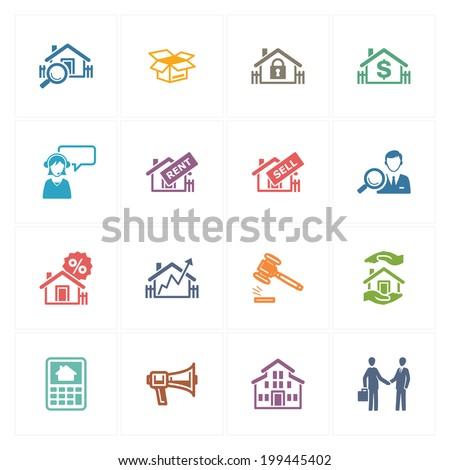 Real Estate Icons - Colored Series  - stock vector