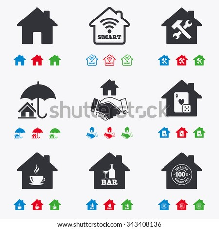 Real estate icons. House insurance, broker and casino with bar signs. Handshake deal, coffee and smart house symbols. Flat black, red, blue and green icons. - stock vector