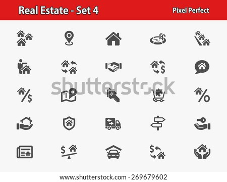 Real Estate Icons. Professional, pixel perfect icons optimized for both large and small resolutions. EPS 8 format. - stock vector