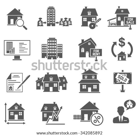 Real Estate Icons Set - stock vector