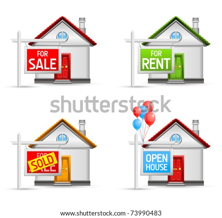 real estate icons set 3 - house for sale, for rent, sold, open house - stock vector