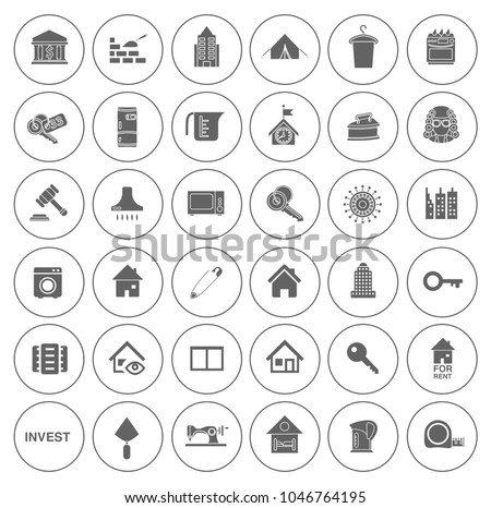 Real Estate Icons Set House Property Stock Vector 1046764195