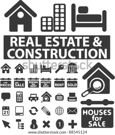 real estate icons set, signs, vector - stock vector