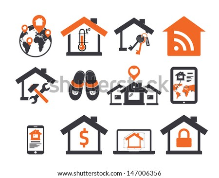 Real estate icons set 04 Sweet home - stock vector