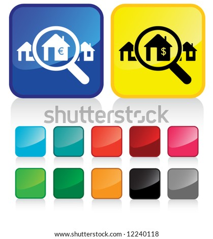 real estate industry button - and suggested colors with glossy aspect part 4/6 - stock vector