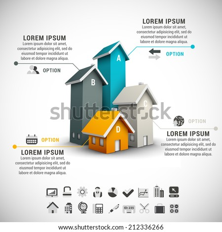 Real estate infographic made of colorful houses. - stock vector