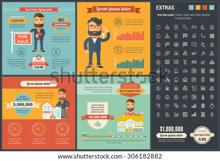 Real Estate infographic template and elements. The infographic  template includes illustrations of hipster men and huge awesome set of thin line icons. Modern minimal flat vector infographic design. - stock vector