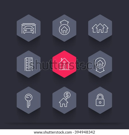 Real estate line icons, mortgage, key, rent, house for sale, loan, building, property, hexagon icons set, vector illustration - stock vector