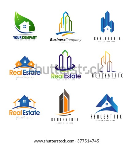 real estate logo design set creative abstract real estate icons