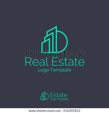 Real Estate logo design template. Corporate branding identity - stock vector