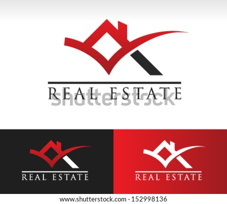 Real estate logo icon with roof and check mark graphic element. - stock vector