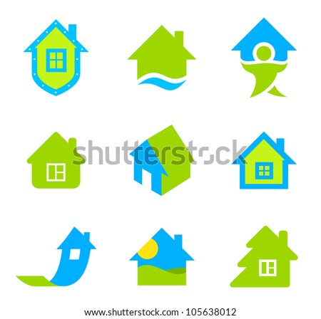 Real estate logo template. House icon set. Realty theme. Different icons for realty. - stock vector
