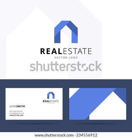 Real estate logo template with business card design. - stock vector