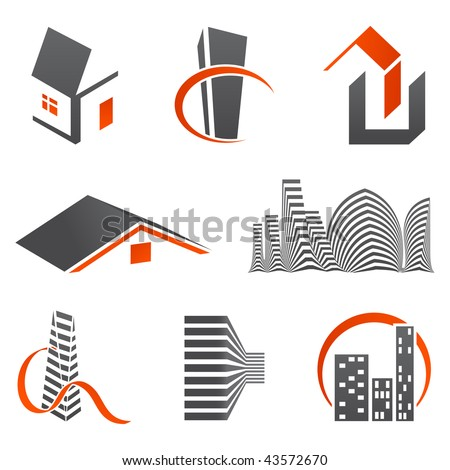 Real estate logos - stock vector