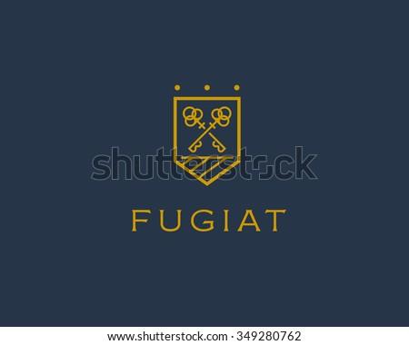 Real estate logotype. Keys shield logo icon design. - stock vector
