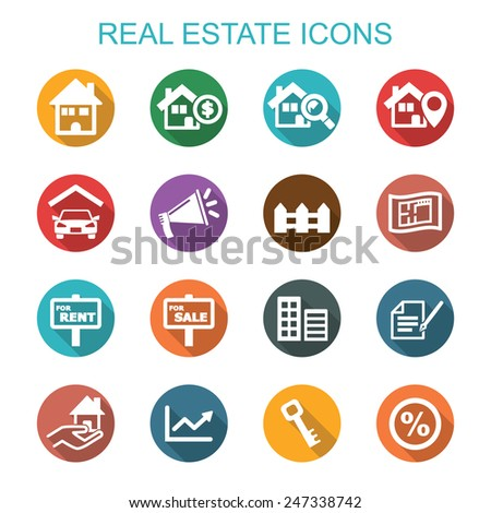 real estate long shadow icons, flat vector symbols - stock vector