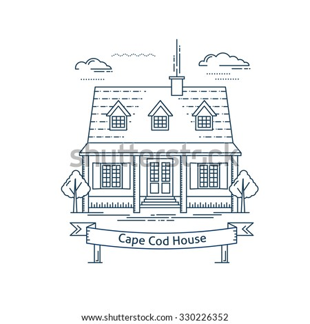 Real estate market concept flat line vector architecture design. Outlined stroke icon. Cape Cod house. Property investment. For poster, flyer, web, banner, header, hero image, motion design - stock vector