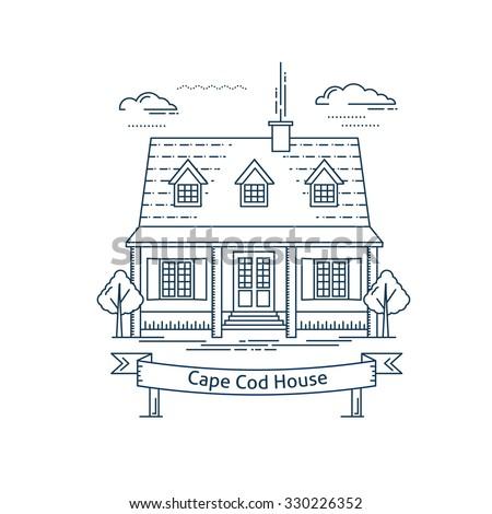 Real Estate Market Concept Flat Line Vector Architecture Design Outlined Stroke Icon Cape Cod