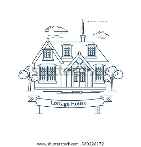 Real estate market concept flat line vector architecture design. Outlined stroke icon. Countryside cottage house. Property investment. For poster, flyer, web, banner, header, hero image, motion design - stock vector