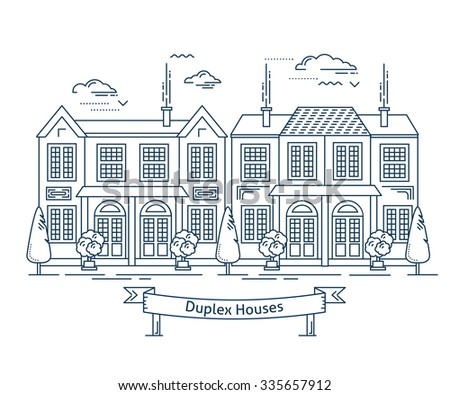Real estate market concept flat line vector architecture design. Outlined stroke icon. Duplex townhouse. Property investment. For poster, flyer, web, banner, header, hero image, motion design