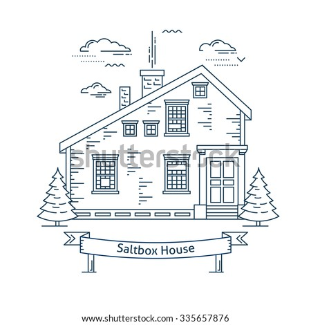 Real estate market concept flat line vector architecture design. Outlined stroke icon. Saltbox style house. Property investment. For poster, flyer, web, banner, header, hero image, motion design - stock vector