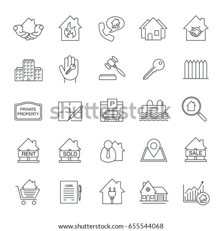 Real estate market linear icons set vectores en stock 655544068 real estate market linear icons set property development thin line symbols building business malvernweather Gallery