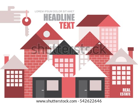 Real estate, modern townhouses. Vector template, magazine cover design, size A4. Hand with key on forefinger.