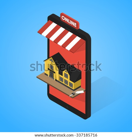 Real estate online searching isometric flat vector concept. For Sale or Rent Showcases phone