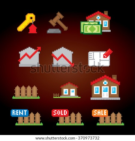 Real estate property rent and sale icons set. Pixel art. Old school computer graphic style. - stock vector