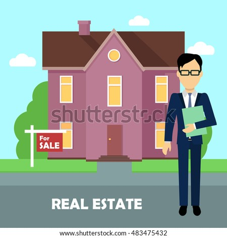 Real Estate Realtor On Background Purple Stock Vector