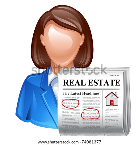 real estate realtor with newspaper icon - stock vector