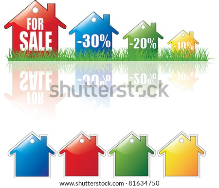 Real Estate Sale (Rent,Sale,Sold,Discount) - stock vector
