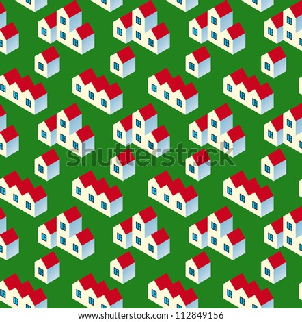 Real Estate Seamless Pattern. White Village Buildings with Red Roof on Green Background. Vector Illustration - stock vector