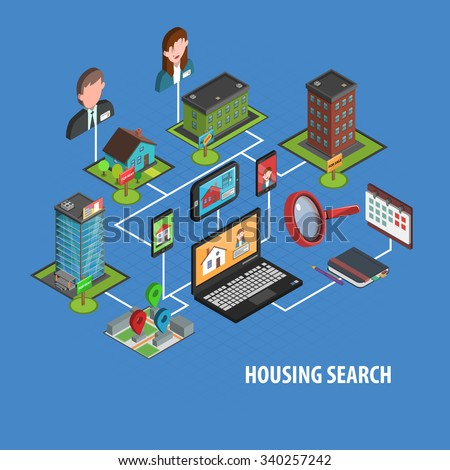 Real estate search concept with isometric notebook and houses icons vector illustration - stock vector