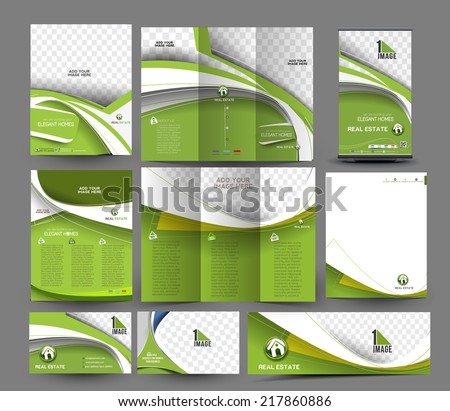 Real Estate Stationery Set Template - stock vector