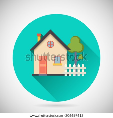 Real Estate Symbol House Building Private Property Tree Fence Icon with long shadow on Stylish Background Modern Flat Design Vector Illustration - stock vector