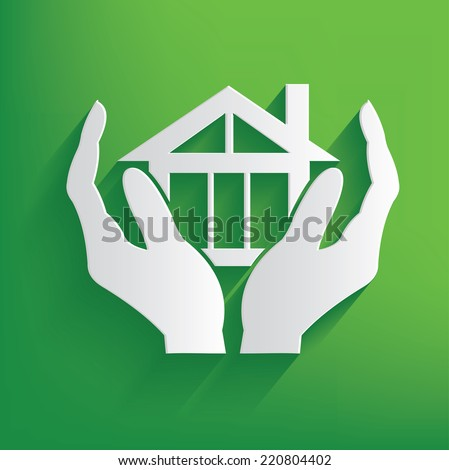 Real estate symbol on green background,clean vector