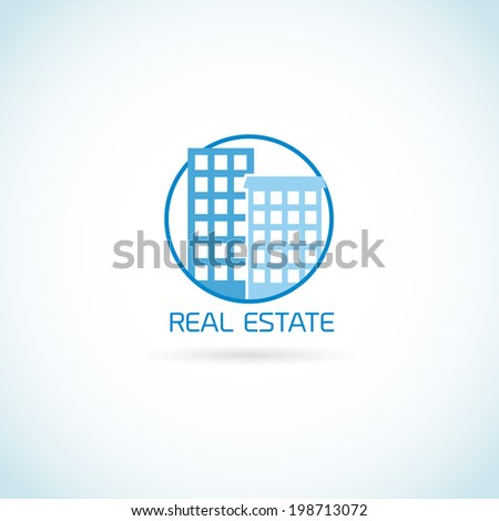 Real estate symbol skyscraper building in circle isolated on white background vector illustration - stock vector