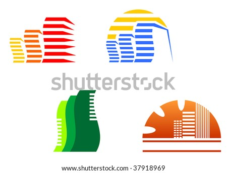 Real estate symbols for design and decorate - abstract emblem or logo template - stock vector