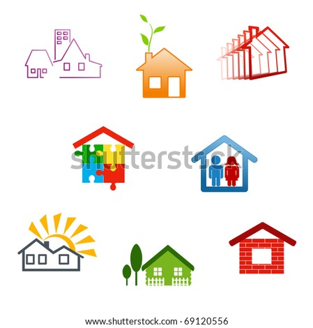 Real estate symbols for design and decorate - also as emblem or logo template. Jpeg version also available in gallery - stock vector