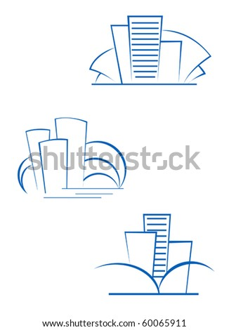 Real estate symbols for design isolated on white - also as emblem or logo template. Jpeg version also available in gallery - stock vector